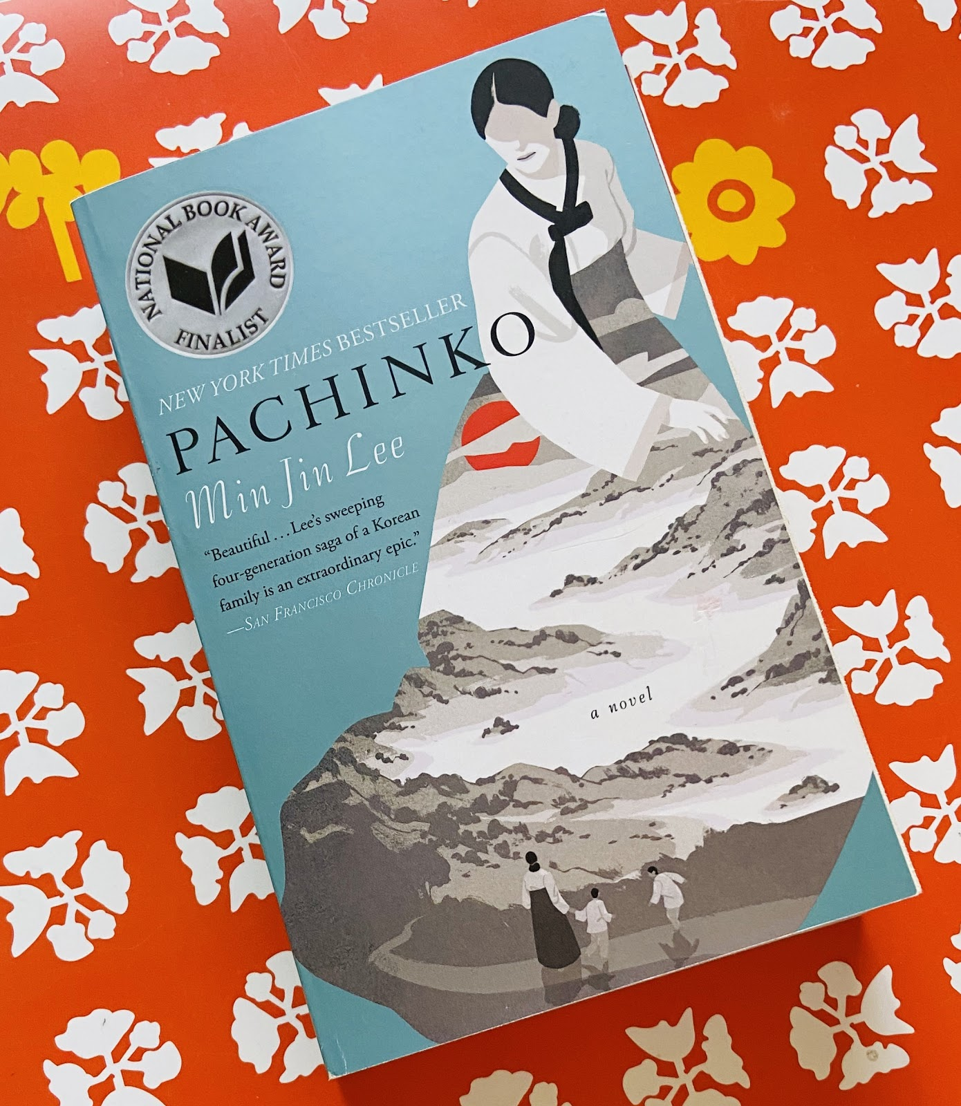 Taking a study break with a good book. Pictured: Pachinko by Min Jin Lee.