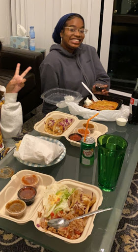 eating carryout with friends