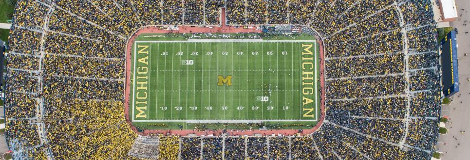 Aerial photo of Michigan Stadium full of fans during a game
