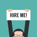 drawing of man holding hire me sign